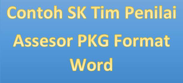 Contoh SK Tim Penilai PKG Format Word