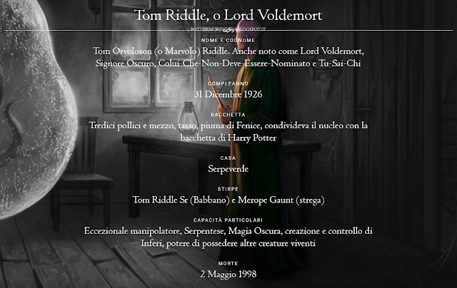 Scheda di Tom Riddle, o Lord Voldemort
