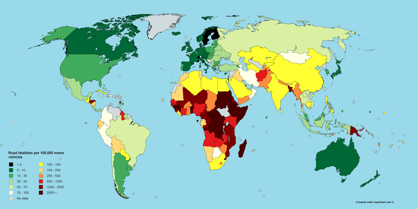 Road fatalities per 100,000 motor vehicles, 2013