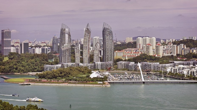 Reflections at Keppel Bay by Studio Daniel Libeskind from the air