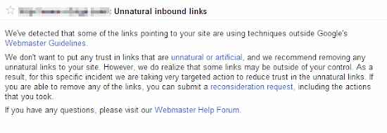 surat peringatan backlink tidak alami dari Google