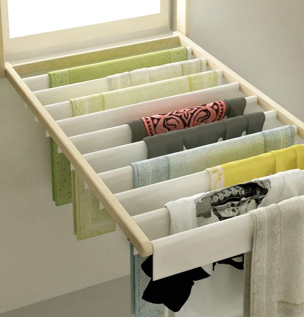 Ventana tendero de ropa diseño multifuncional para espacios reducidos.