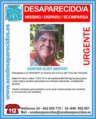 Un hombre alemán desaparecido en Tenerife, Günter Kurt Seifert