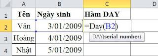 tinhoccoban.net - Hàm Day trong Excel