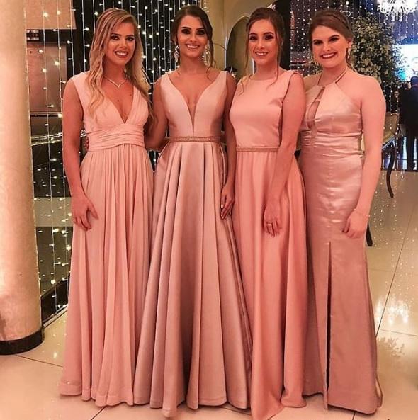madrinhas de vestido rosé
