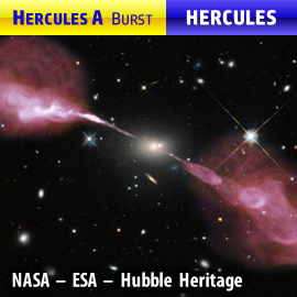 Hercules A radio source and its associated galaxy