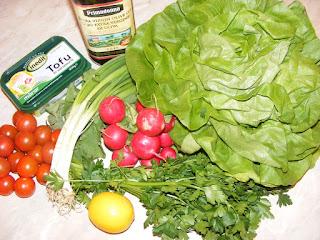 retete salate preparate din salata verde rosii ridichii patrunjel si branza tofu,
