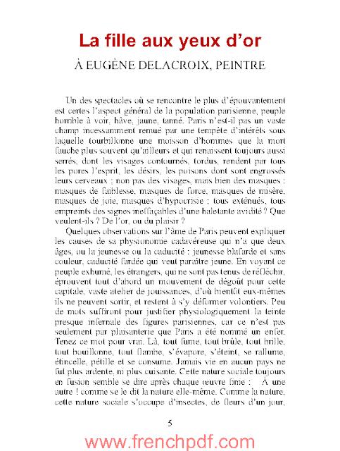 La fille aux yeux d'or en pdf par Honoré de Balzac
