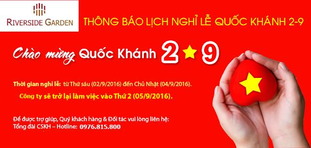 Thông báo nghỉ lễ Quốc khánh dự án 349 Vũ Tông Phan