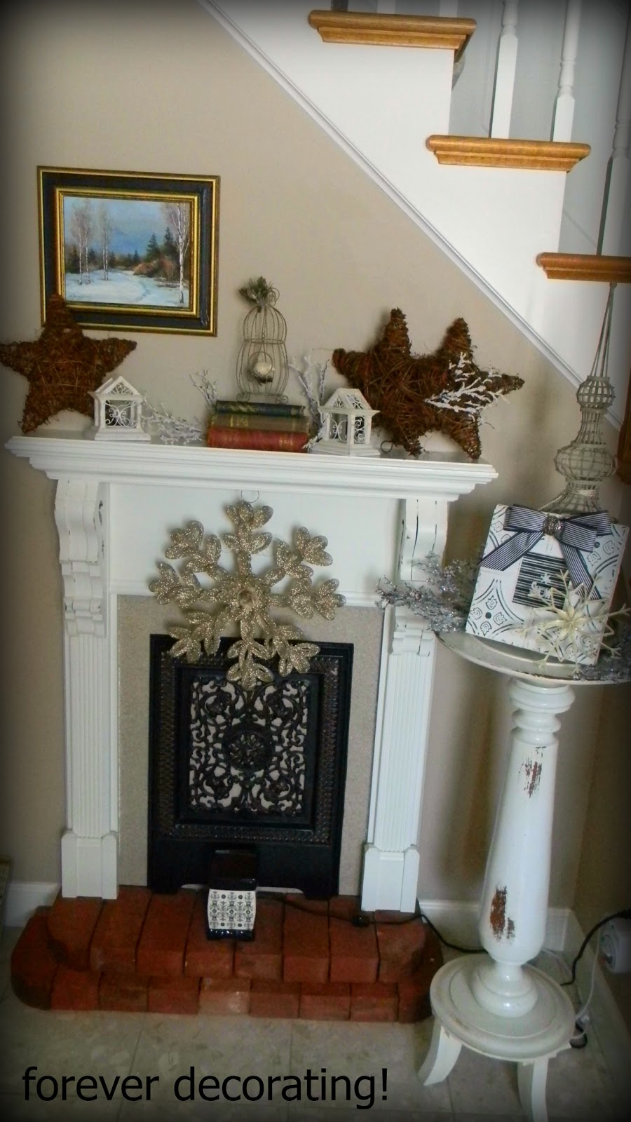 competitive price 0b902 a462e Forever Decorating!: Foyer Winter Mantel ~ 2013