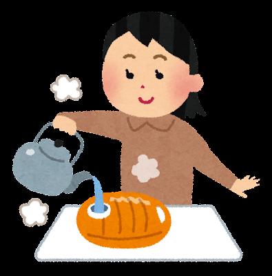 湯たんぽにお湯を入れる人のイラスト