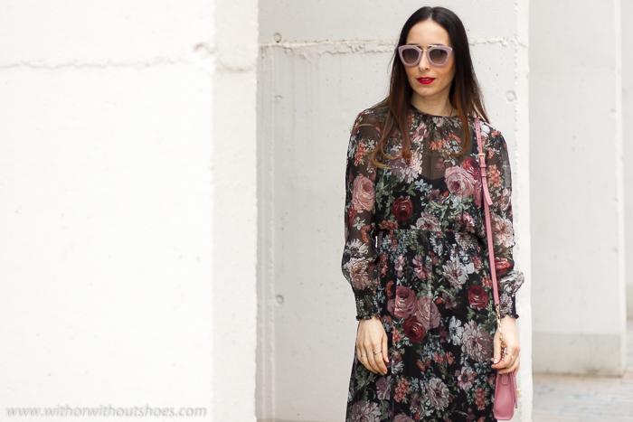 Blogger influencer Moda Mujer España Vestido de flores de seda fresco manga larga