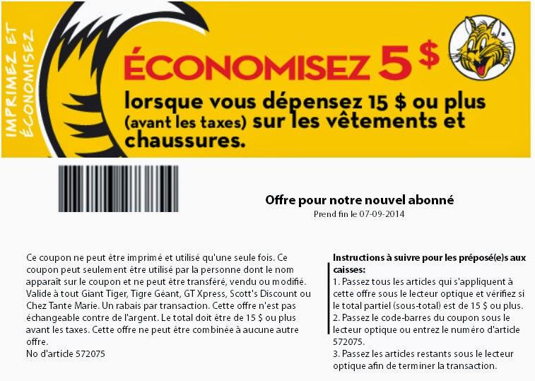 Tigre Géant - 5$ de rabais avec inscription en ligne.