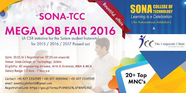 Sona-TCC Mega Job Fair on Dec 10, 2016 at Salem for 2015/2016/2017 Batches