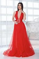 Rochie de seara Ana Radu rosie cu accesoriu tip curea