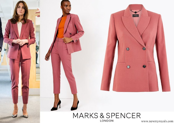 Kate Middleton wore Marks & Spencer blazer and slim leg trousers