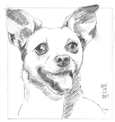 dot to line contour drawing of a happy terrier