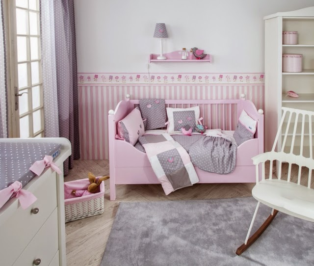 cuarto niña rosa gris