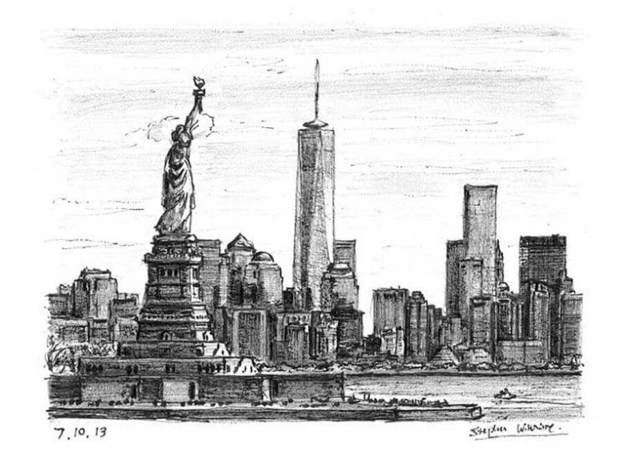 11-Statue-of-Liberty-and-Freedom-Tower-Stephen-Wiltshire-Urban-Cityscapes-www-designstack-co