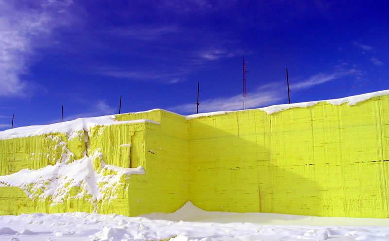 Giant sulfur block near Cremona , Alberta, Canada