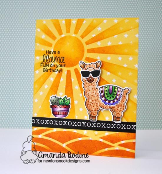 Llama Birthday Card by Amanda Bodine | Loveable Llamas Stamp Set and Sunscape Stencil by Newton's Nook Designs #newtonsnook #handmade #llama