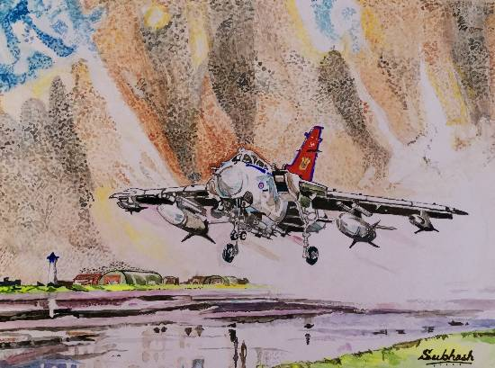 Jet fighter taking off by Subhash Bhate ( part of his portfolio on www.indiaart.com)