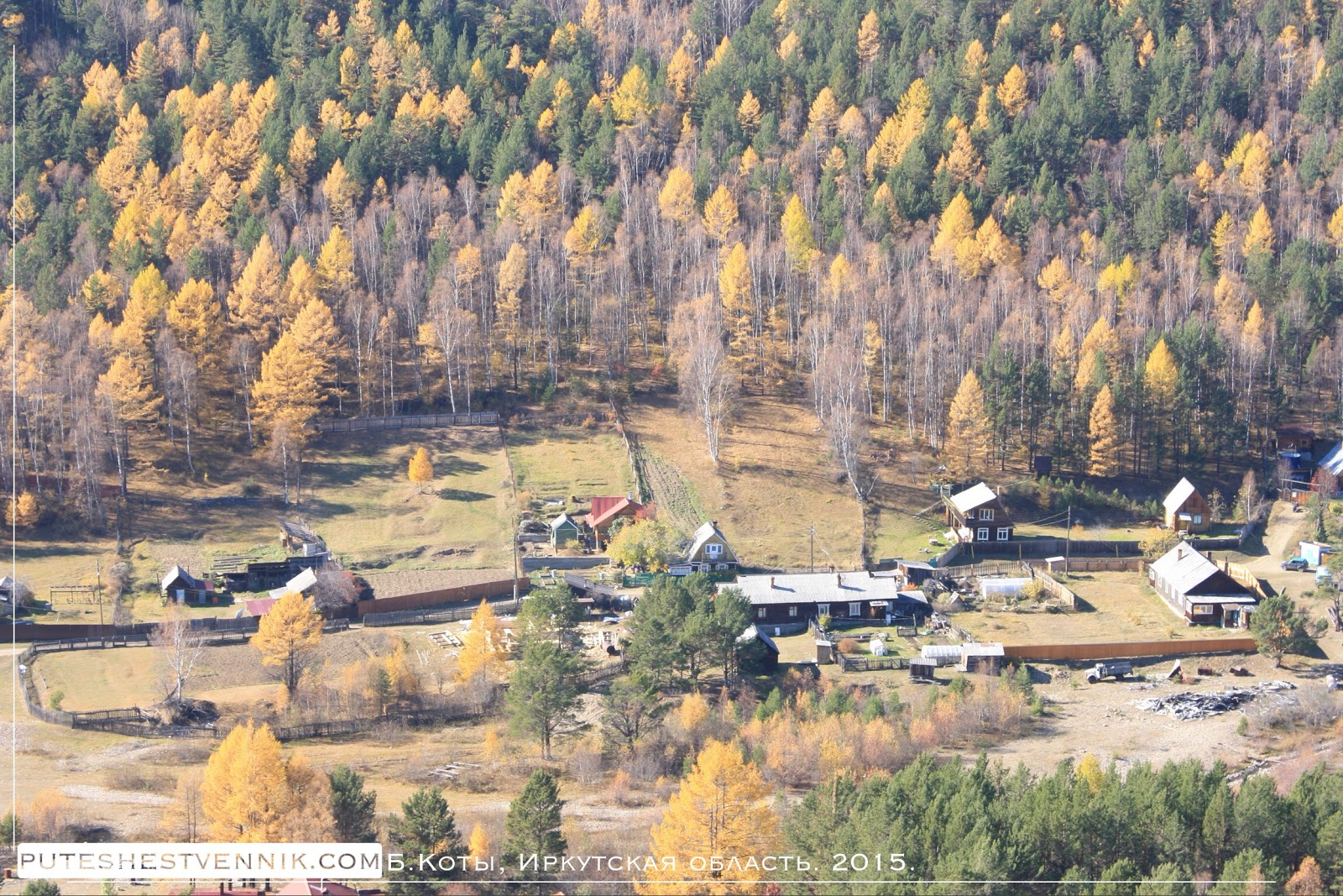 Деревня на опушке осеннего леса