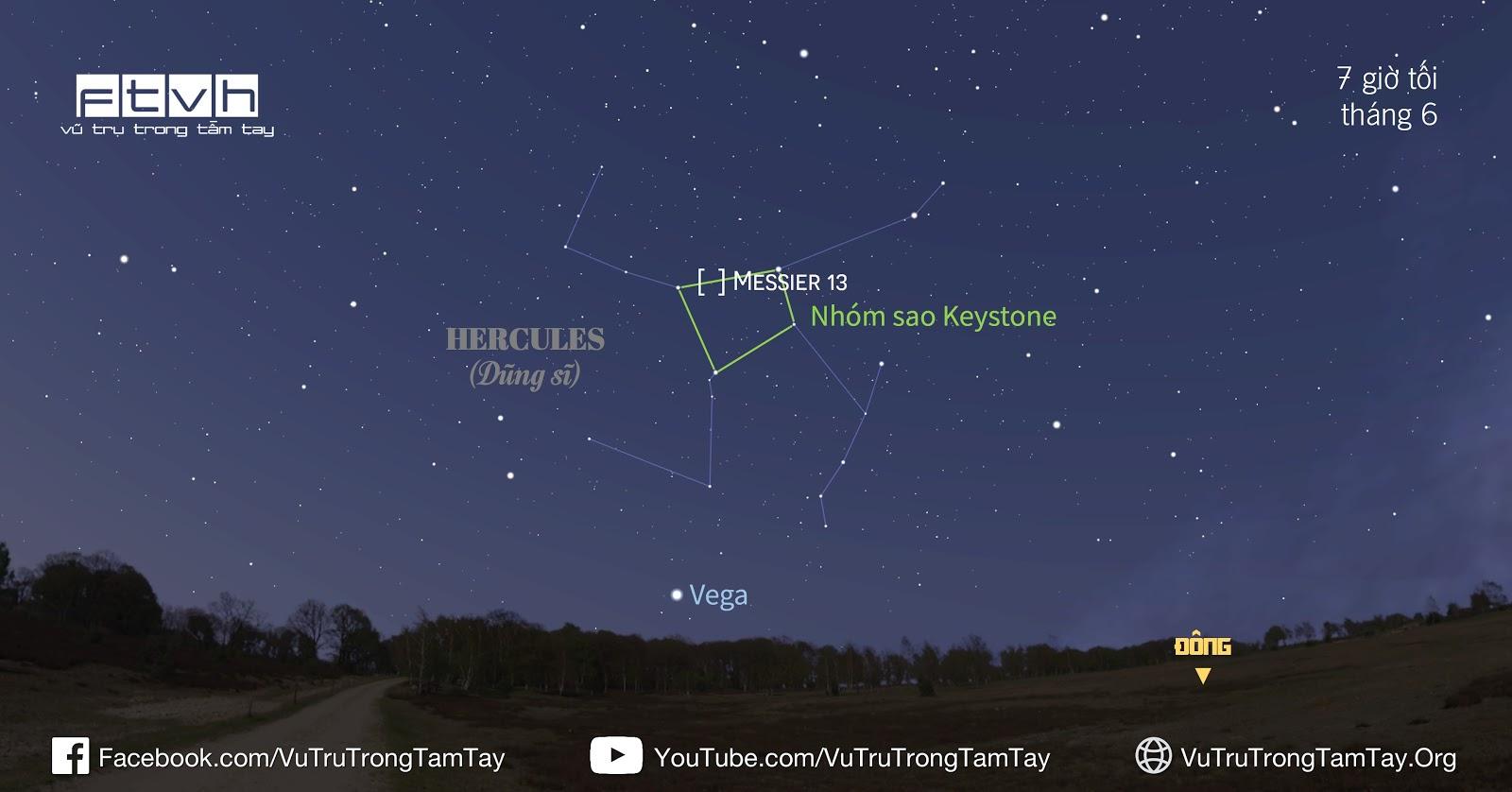 Vị trí của Messier 13 ở hướng đông trên bầu trời tháng 6 lúc 7 giờ tối. Hình ảnh: Stellarium/Ftvh - Vũ trụ trong tầm tay.