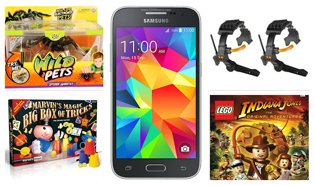 A collage of christmas present ideas for boys. Featuring magic tricks, Samsung Galaxy Core Prime mobile phone, Spy net walkie talkies, spider playset and Indiana Jones Xbox game