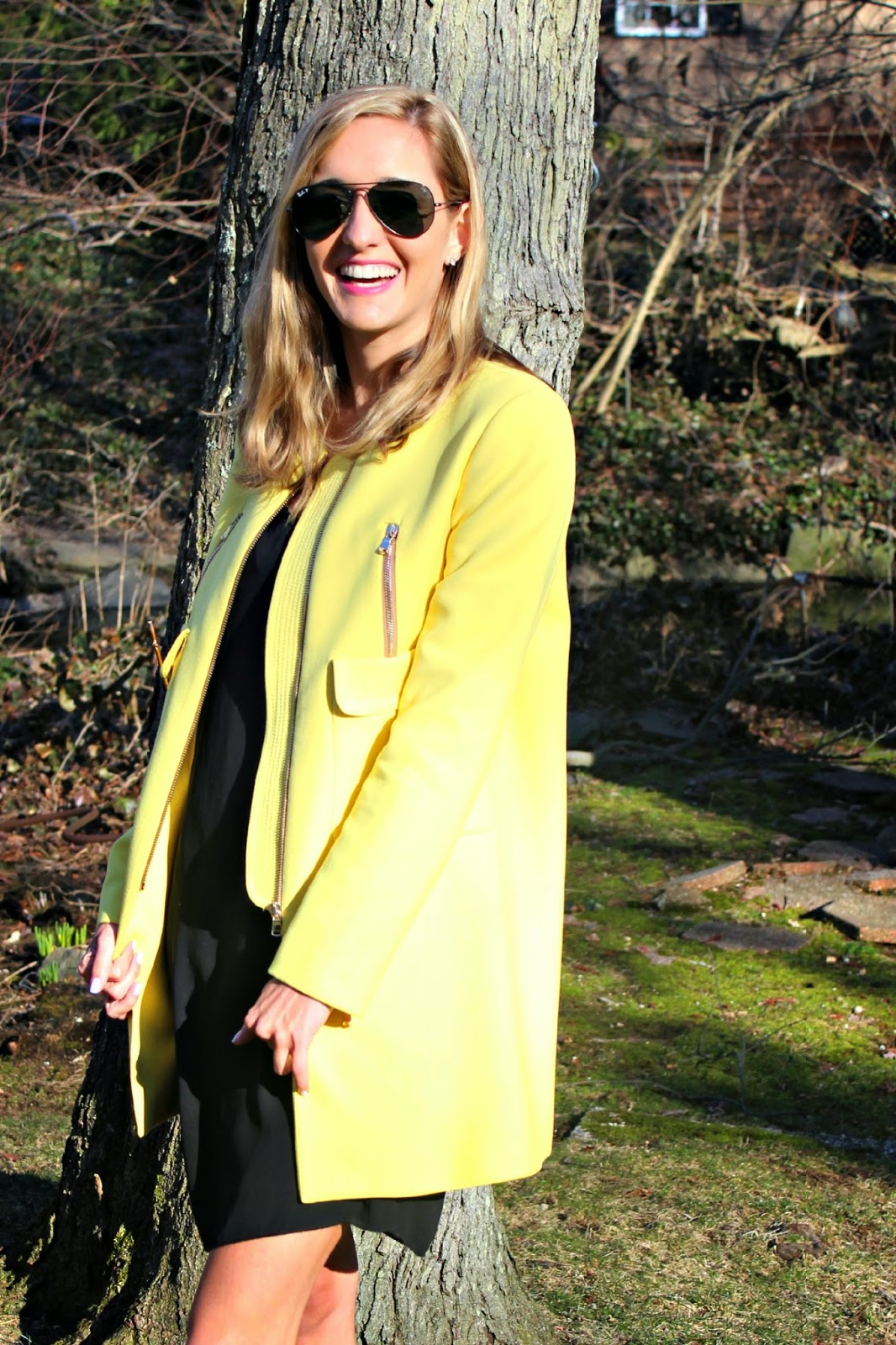 structured yellow zara coat