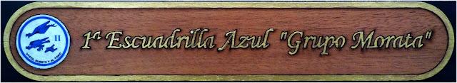 Placa marquetería Escuadrilla Azul