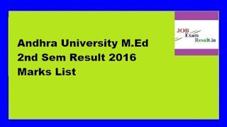 Andhra University M.Ed 2nd Sem Result 2016 Marks List