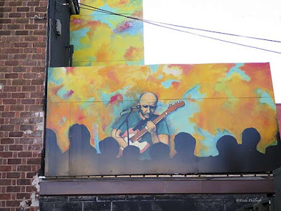 Mural of guitar player