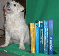 Suki Roth with all five editions of Intermediate Physics for Medicine and Biology.