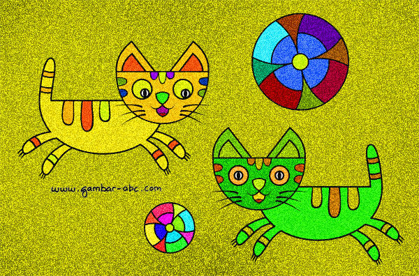 Cara Mewarnai Gambar Kucing Lucu Wartisen