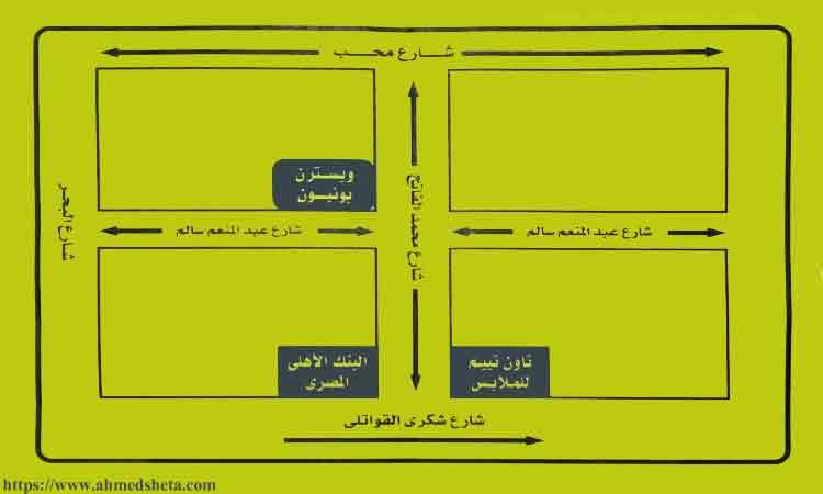 خريطة ورسم كروكي لفرع ويسترن يونيون آيباج IBAG بمدينة المحلة الكبرى