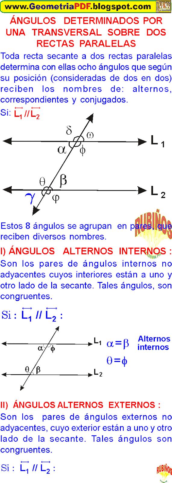 ejercicios de dos rectas paralelas y una transversal