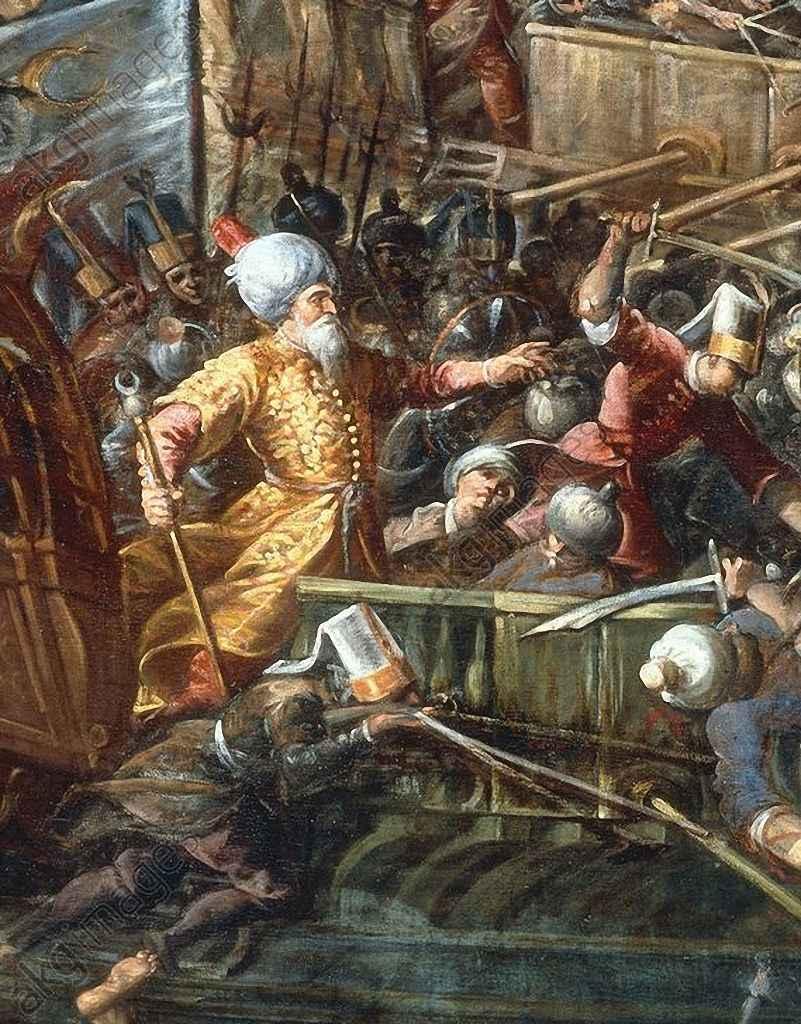 Ali Pachá chefe supremo islâmico em Lepanto caiu abatido ç e sua morte semeou o desconcerto entre os sectários do Corão.