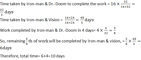 Iron-man and Dr.-doom started working together but after 4 days, Dr.-Doom left the work and remaining work is completed by Iron-man and vision together. Find the total number of days taken to complete the whole work?
