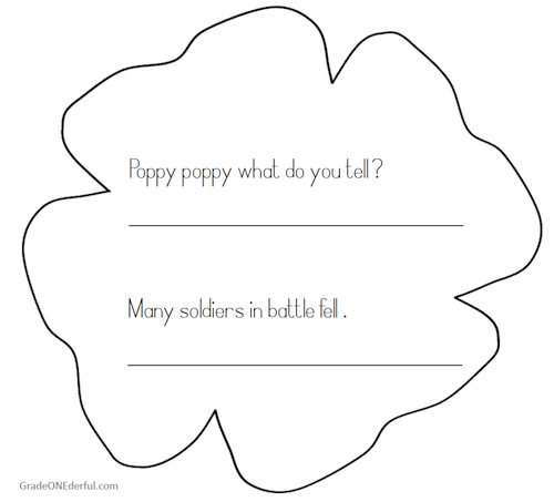 Poppy Poem booklet for Remembrance Day. Best for Grade 1 and 2.