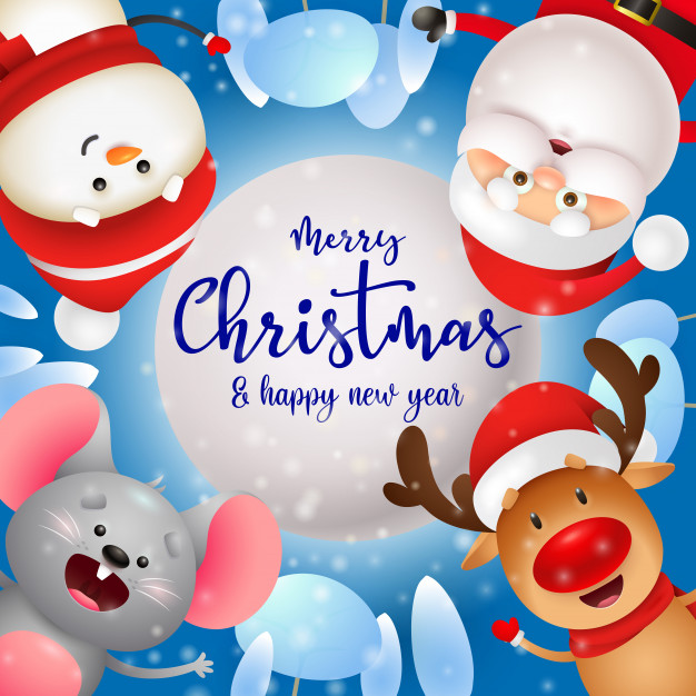 Merry christmas greeting card with cute characters Free Vector