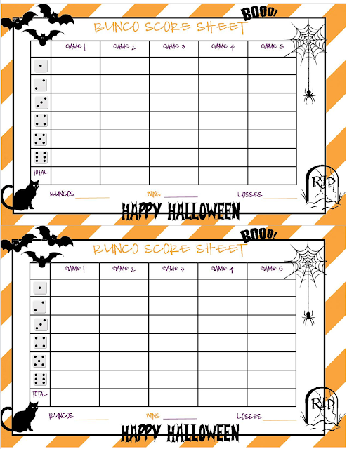 Recipes from stephanie halloween bunco sheet for Free bunco scorecard template