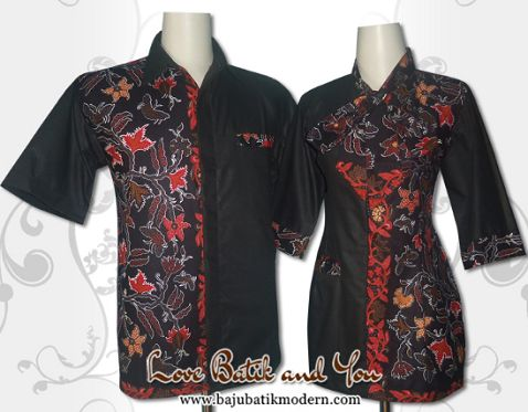 Baju Batik Wanita Kantor Kombinasi Polos