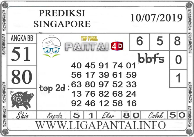 "PREDIKSI TOGEL ""SINGAPORE"" PANTAI4D 10 JULI 2019"