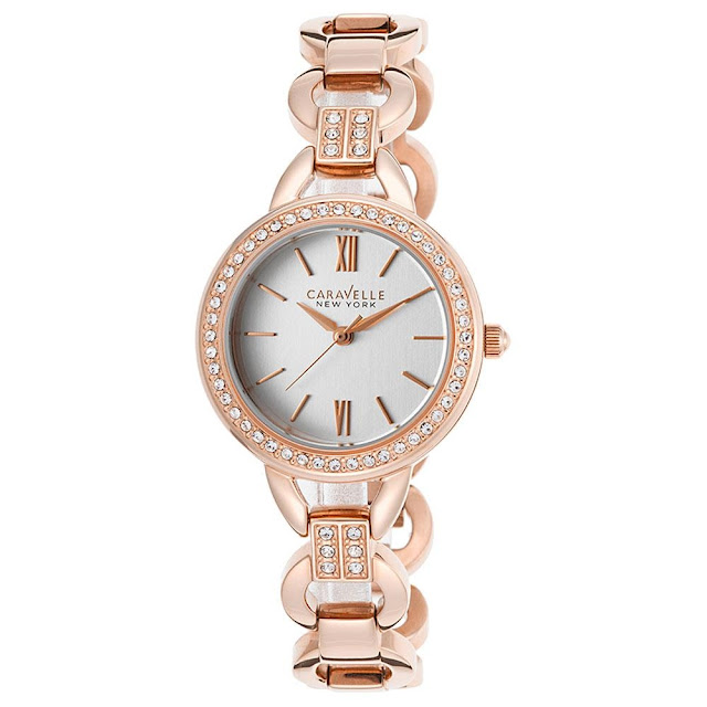 Caravelle 44L163 women's New York crystal bezel silver dial rose gold steel bracelet watch At My Gift stop by Barbies Beauty Bits