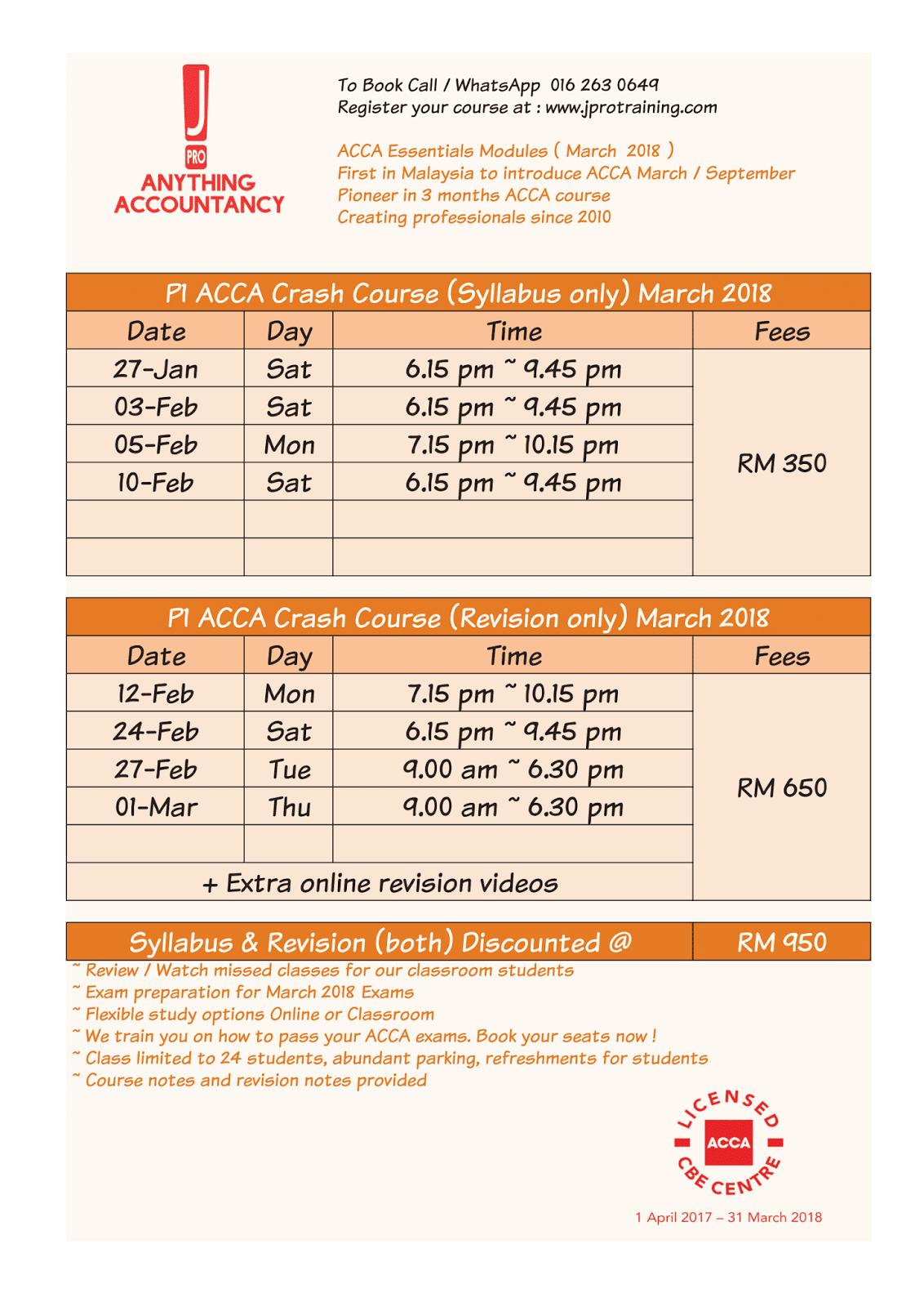 J Pro Business Training: March 2018 Exam Preparation Timetable