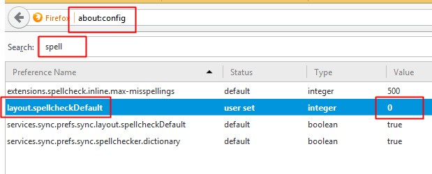 Cara Disable Check Spelling Mozilla Firefox