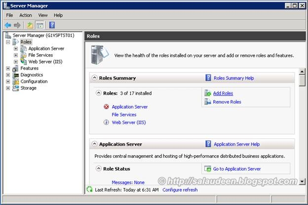 Add Roles in Windows 2008 R2