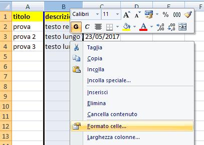 Mandare a capo contenuto cella Excel