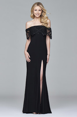 Show Off Your Collarbone With Prom Dress - Black Long Prom Dress